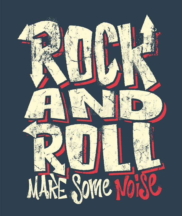 Rock and roll grunge print, vector graphic design. t-shirt print lettering. royalty free illustration