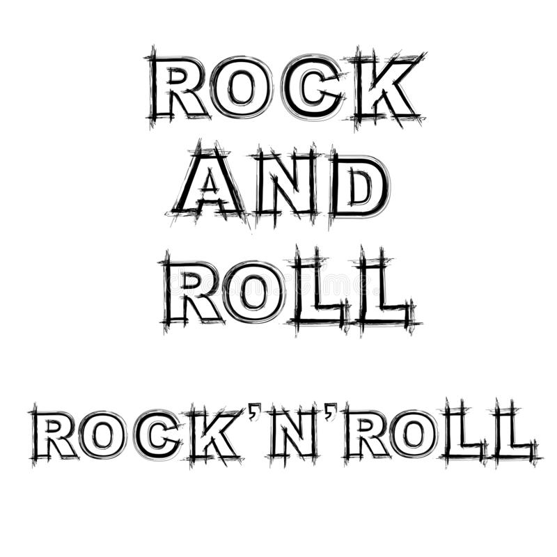 Rock and roll grunge text vector illustration