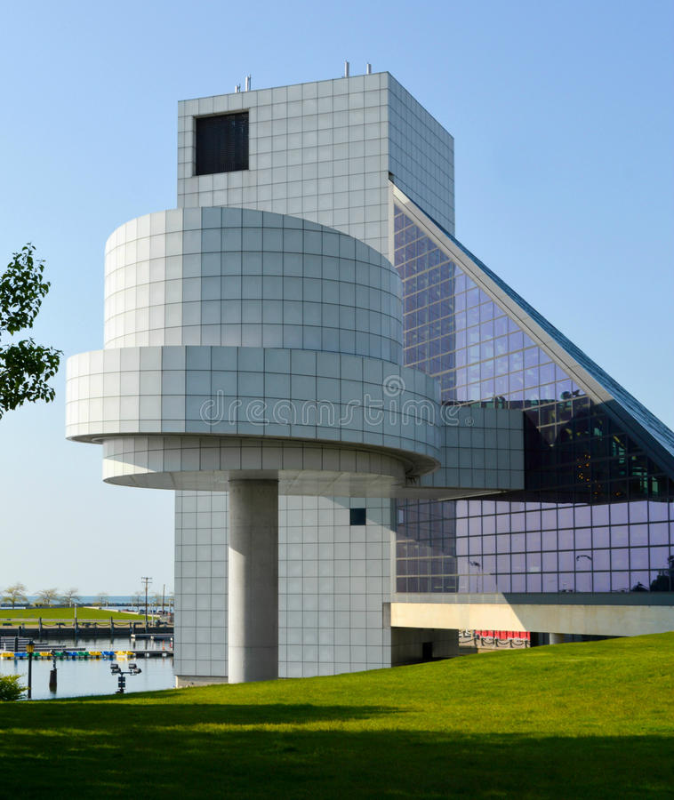 Rock and Roll Hall of Fame Downtown Cleveland Ohio. A side view of the Rock and Roll Hall of Fame located on the shore of Lake Erie in downtown Cleveland, Ohio royalty free stock images