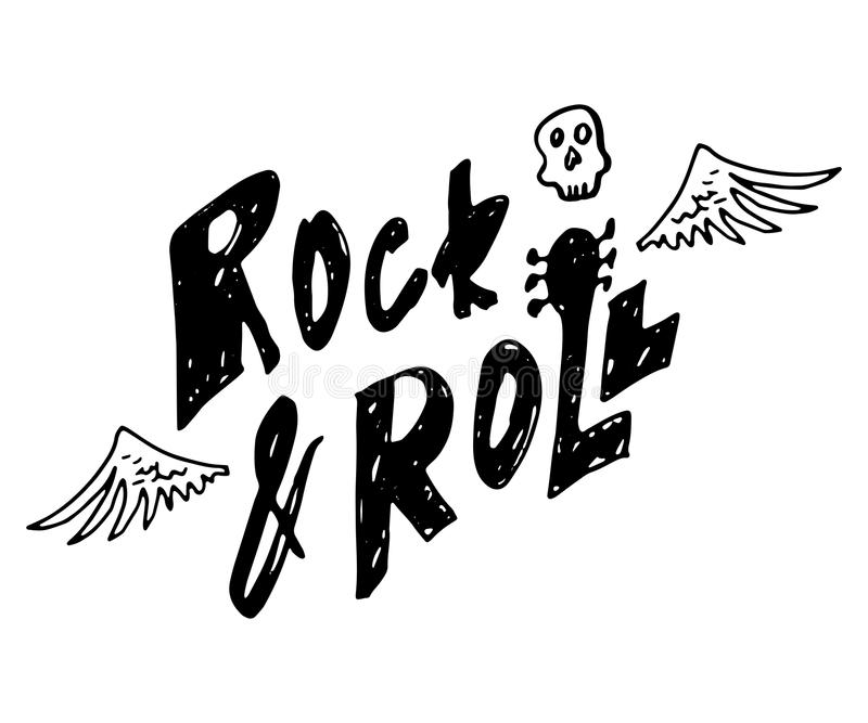 Rock and roll. Hand drawn lettering with scull and wings. Vintage vector illustration stock illustration