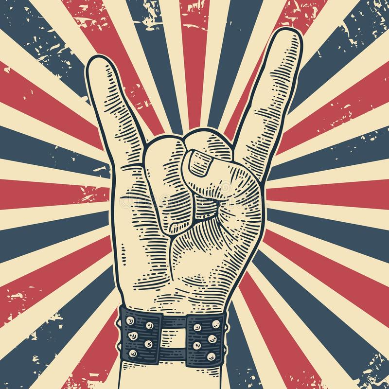 Rock and Roll hand sign. royalty free illustration