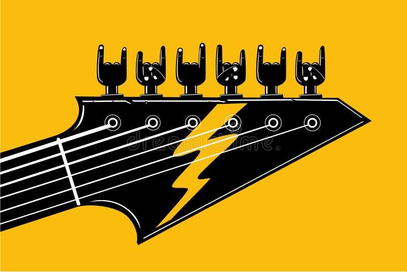 Rock And Roll Indie festiwalu i przyjęcia szablon Hardrock muzyczny plakat z gitarą i ludzką ręką również zwrócić corel ilustracj ilustracja wektor