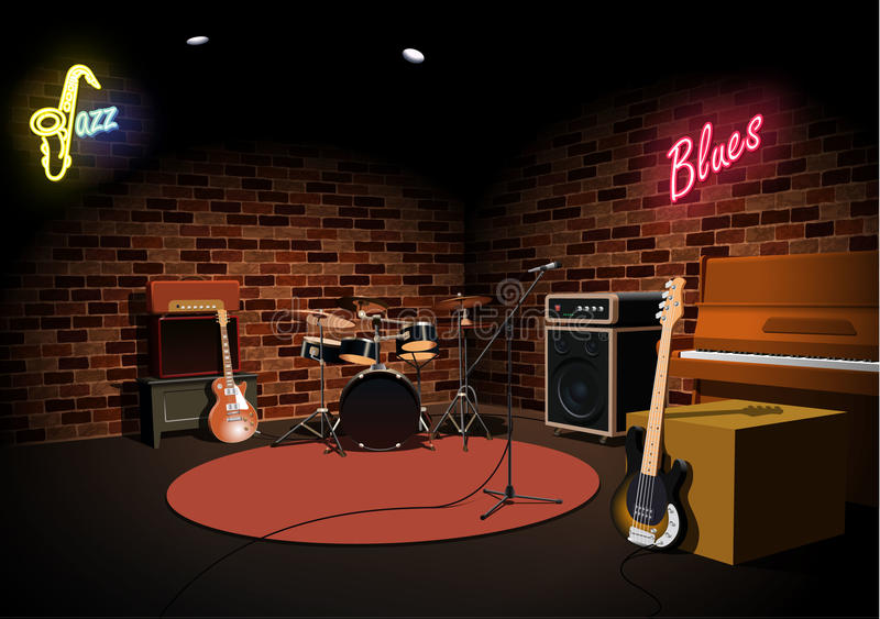 Rock and roll jazz blues music club stage royalty free illustration