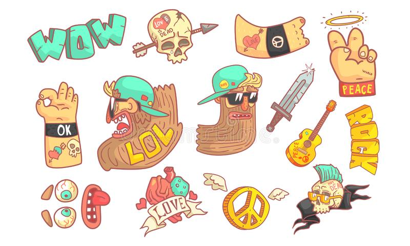 Rock and Roll Music Elements Set, Funny Crazy Mature Rocker Character, Music Fest Signs Cartoon Vector Illustration stock illustration