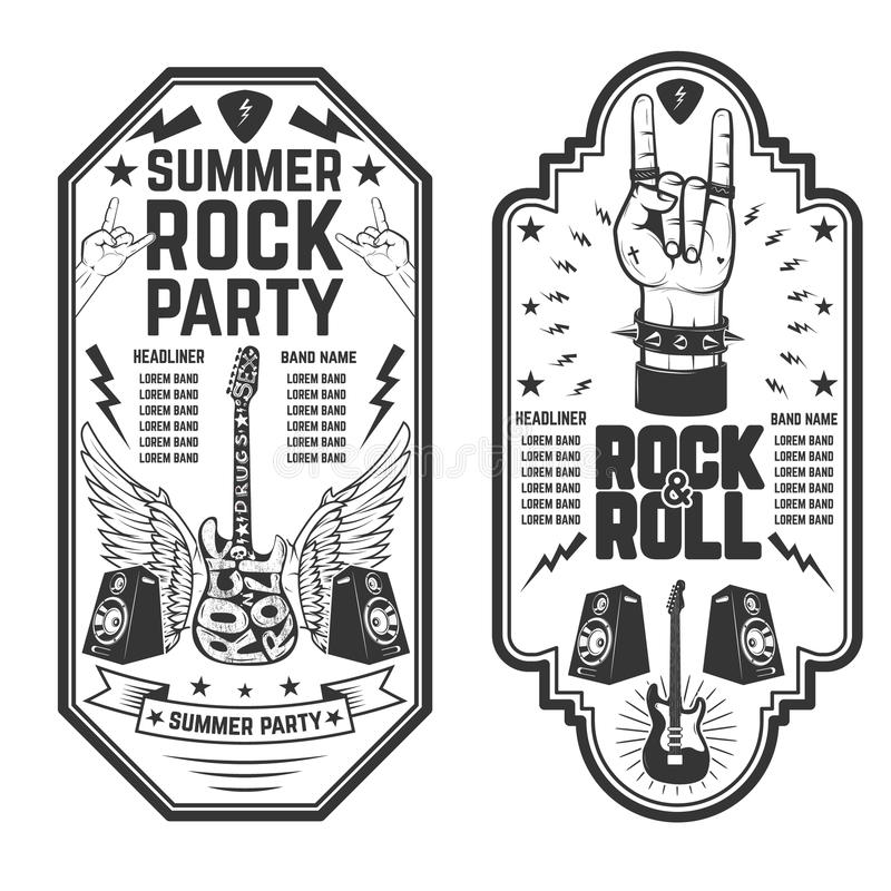 Rock And Roll Party Flyer Template. Stock Vector - Illustration of ...
