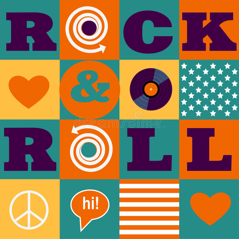 Rock and roll pattern vector illustration
