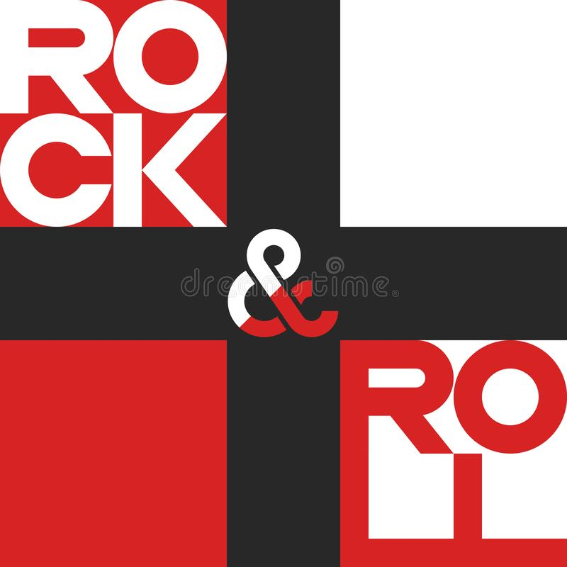 Rock and roll poster, mockup music festival banner, musical print t-shirt design element royalty free illustration