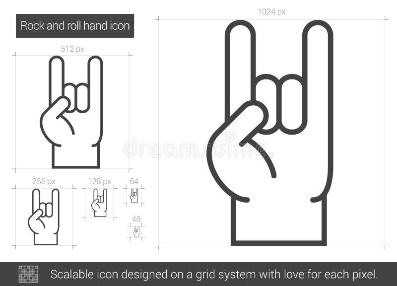 Rock and roll ręki linii ikona ilustracja wektor