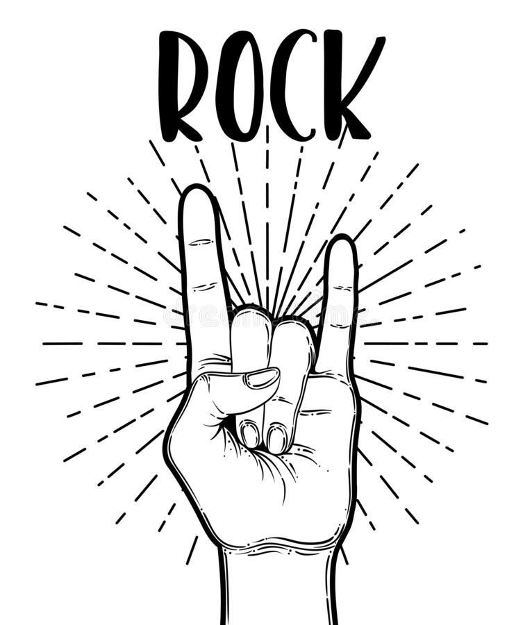 Rock and roll sign. Hand drawn illustration of human hand showing sign of the horns royalty free illustration