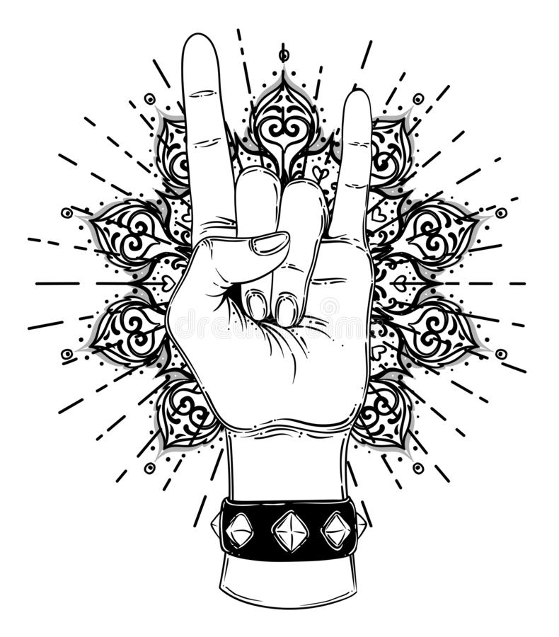 Rock and roll sign. Hand drawn illustration of human hand showing sign of the horns stock illustration