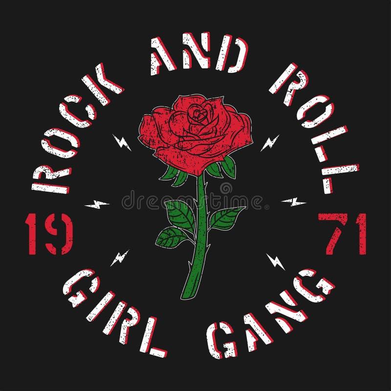 Rock-and-Rollmädchengruppe - Schmutztypographie für T-Shirt, Frauen kleidet Arbeiten Sie Druck für Kleid mit Rosafarbenem und Slo stock abbildung