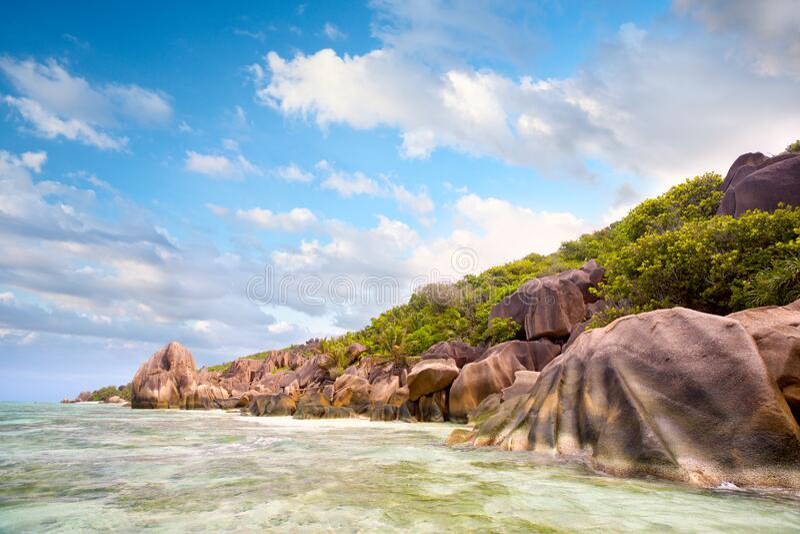Rock`s beach in Seyshelles royalty free stock photos
