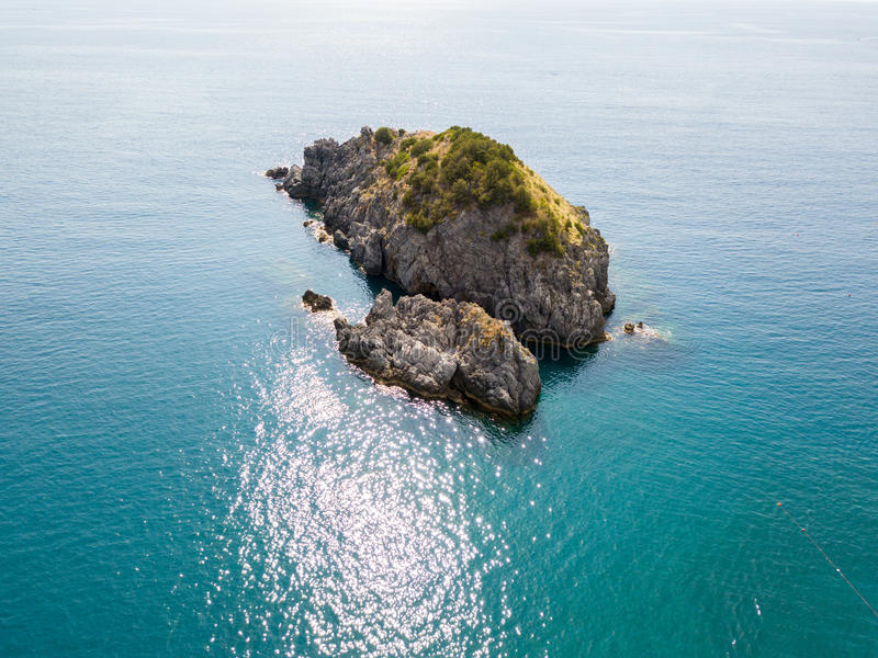 Rock of the Scorzone, aerial view, island, San Nicola Arcella, Cosenza Province, Calabria, Italy. royalty free stock image