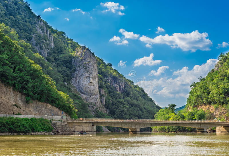 The rock sculpture of Decebalus, the last king of Dacia, Romania. The rock sculpture of Decebalus, the last king of Dacia, who fought against the Roman emperors royalty free stock photography