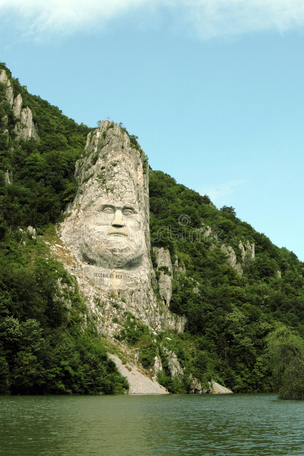 Rock sculpture of Decebalus, Romania. The Statue of Dacian king Decebalus is a 40-meter high statue that is the tallest rock sculpture in Europe. It is located royalty free stock photography