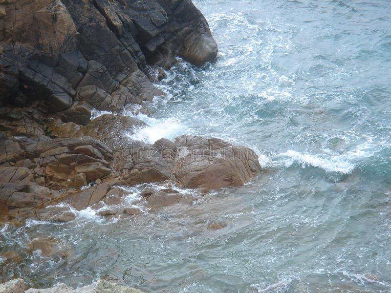Rock. Sea attacks rocks at the coast in Brittany, France stock photos