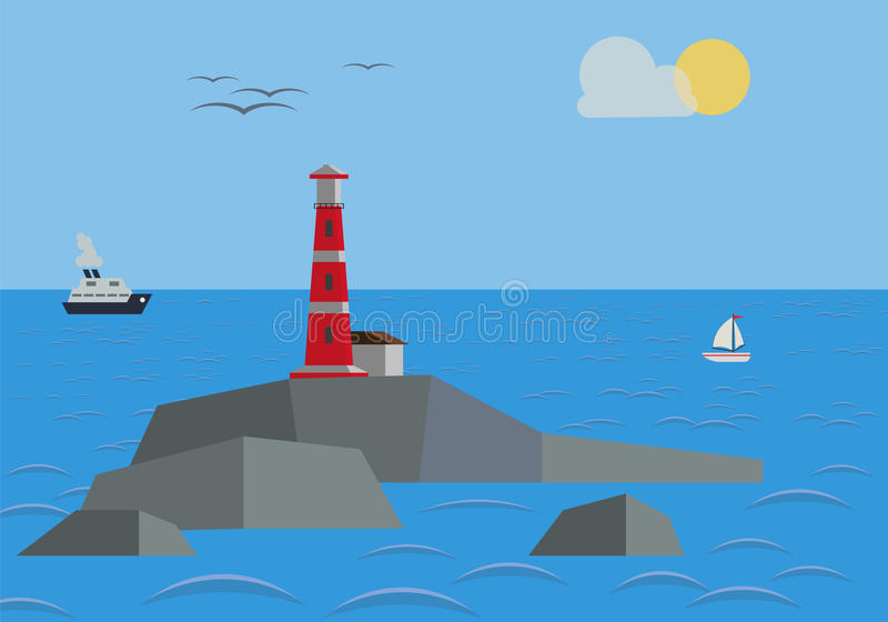 Rock In The Sea With Lighthouse stock photography