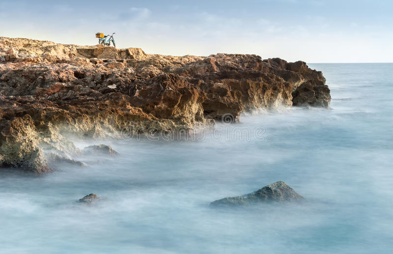 Rock in the sea. Rock reef in the sea stock photos