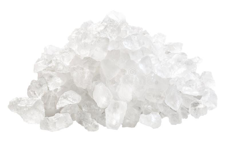Coarse rock sea salt pile, paths. Rock sea salt, coarse, pile of. Clipping path royalty free stock image