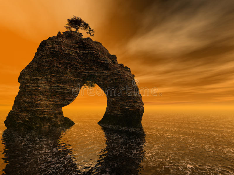 Rock and sea. Somewhere in Brazil 3D rendering royalty free illustration
