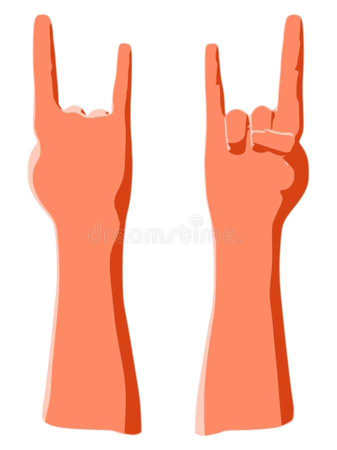 Rock sign by hand as cool music gesture by human on concert stock illustration