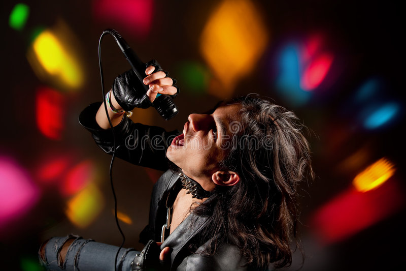Rock singer stock photo