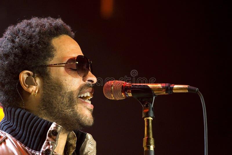 Rock singer Lenny Kravitz at concert. Kiev, Ukraine 2008 stock images