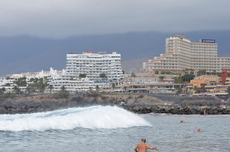 Rock,sky,wave, hotel stock photography
