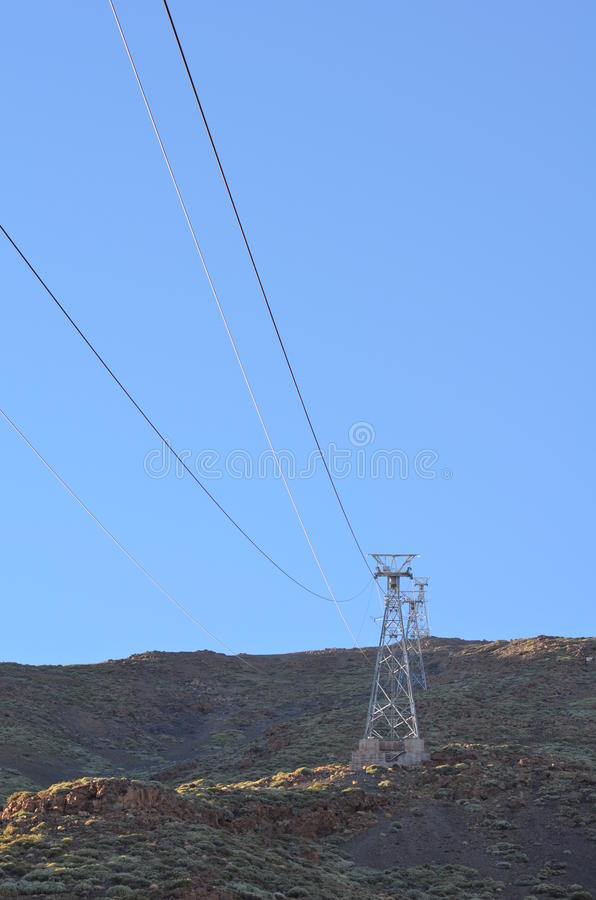 Rock,sky,wire,ropeway royalty free stock photo