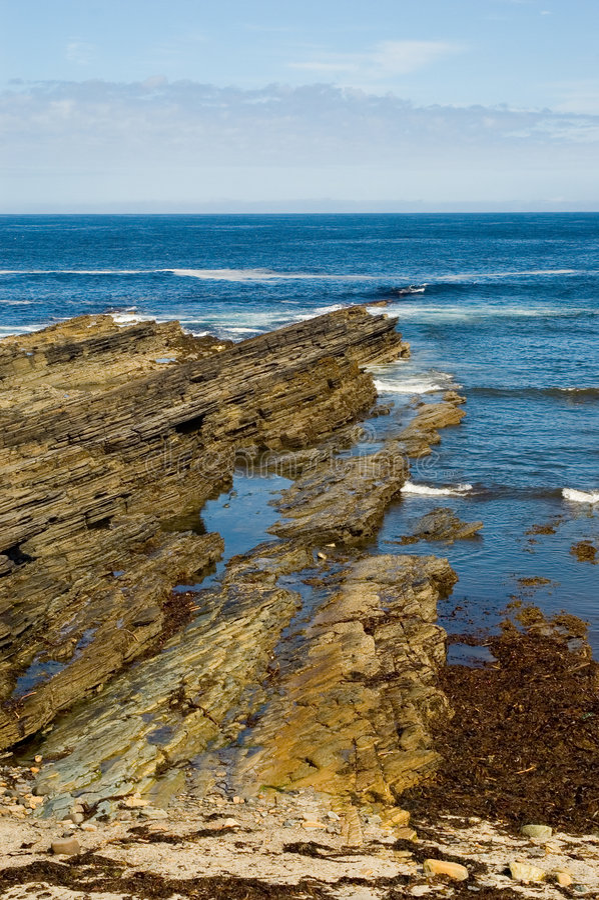 Rock slabs at Birsay Bay, Orkney royalty free stock photos