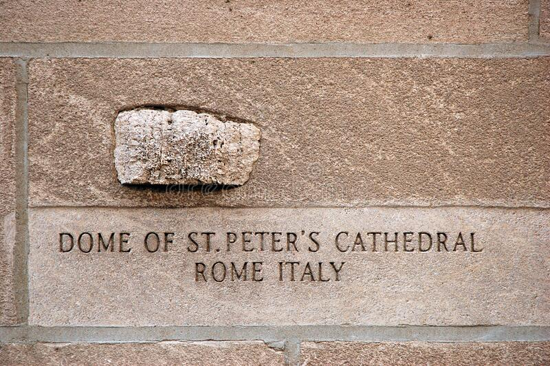 A rock from St Peter's Cathedral. A rock from St Peter's Cathedral is embedded into the Tribune Building in Chicago stock image