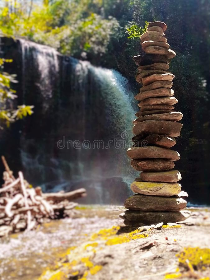 Rock Stack and Waterfall stock photo