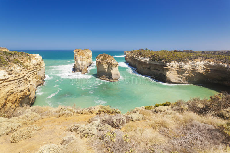 Rock stacks in the Twelve Apostles area. In Australia royalty free stock images