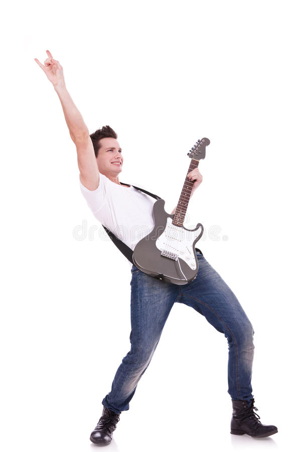 Rock star con una chitarra immagini stock libere da diritti