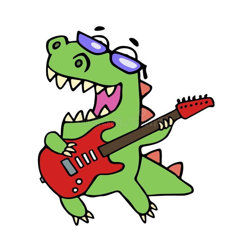 Rock star dinosaur playing the electric guitar stock illustration