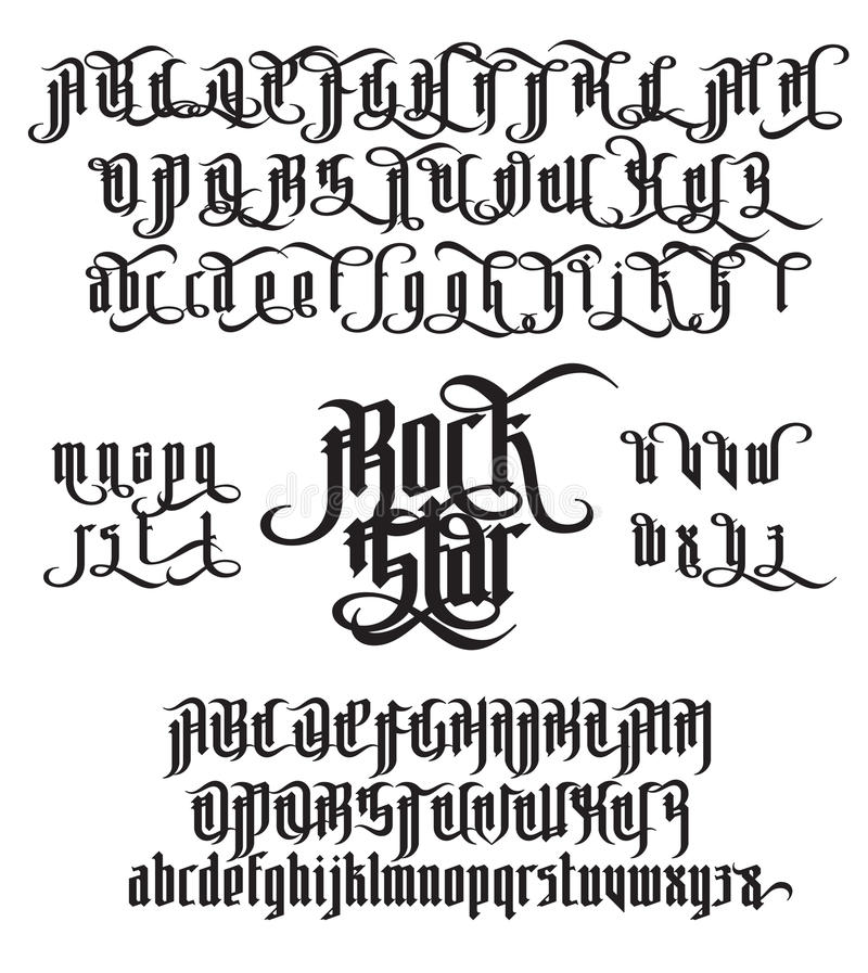 rock star gothic font stock vector  illustration of decorative