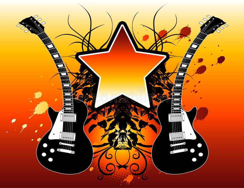 Download Rock star guitars stock vector. Image of text, rock, object - 5112931