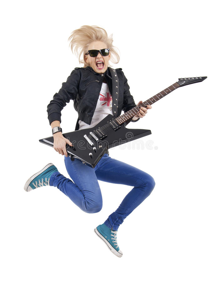 Rock Star Jumping And Screaming Stock Photography