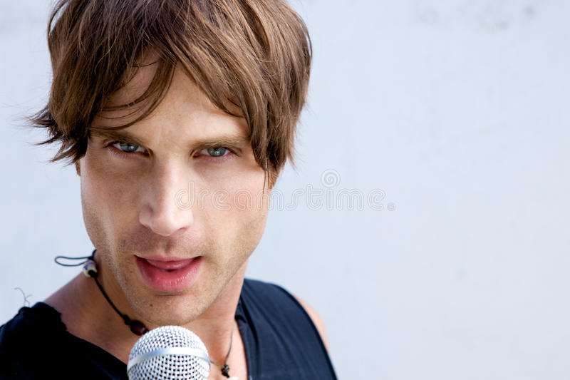 Rock Star with a Mic royalty free stock image