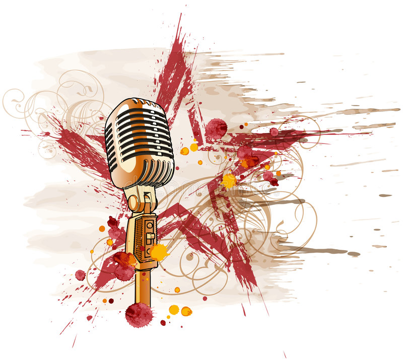 Rock star microphone. Microphone, grunge watercolor star & floral ornament vector illustration
