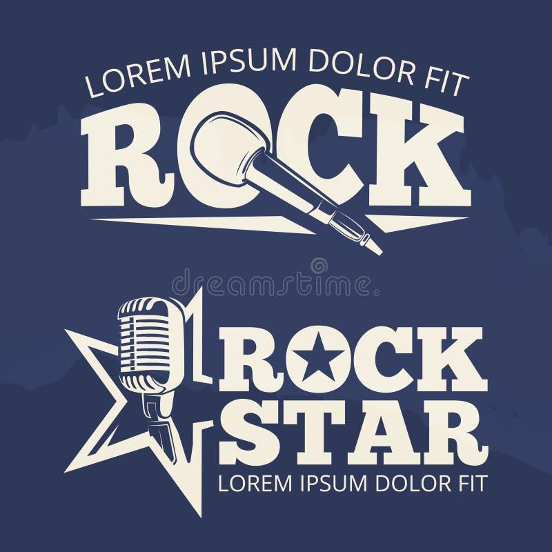 Rock star music labels on grunge backdrop. Retro emblem, vector illustration royalty free illustration