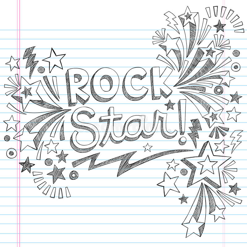 Rock Star Music Sketchy Doodles Vector Illustratio Royalty Free Stock Photo