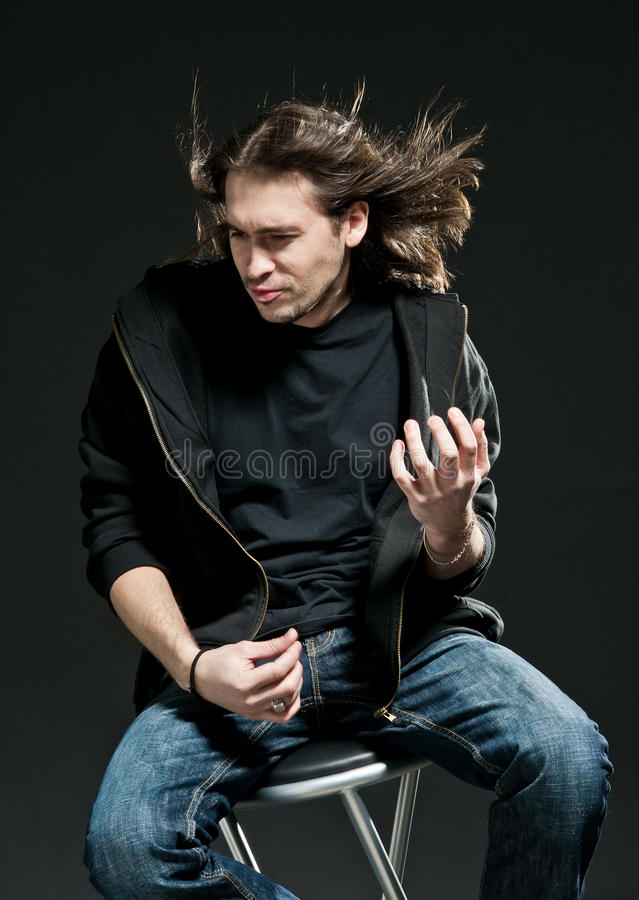 Download Rock-star Playing On Air-guitar Stock Image - Image: 17257433
