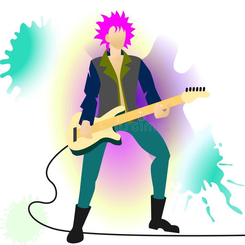 Rock star. Vector flat cartoon illustration.Violet, indigo fashionable color palette vector illustration