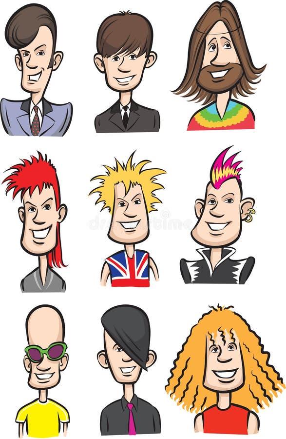 Rock stars cartoon faces royalty free illustration