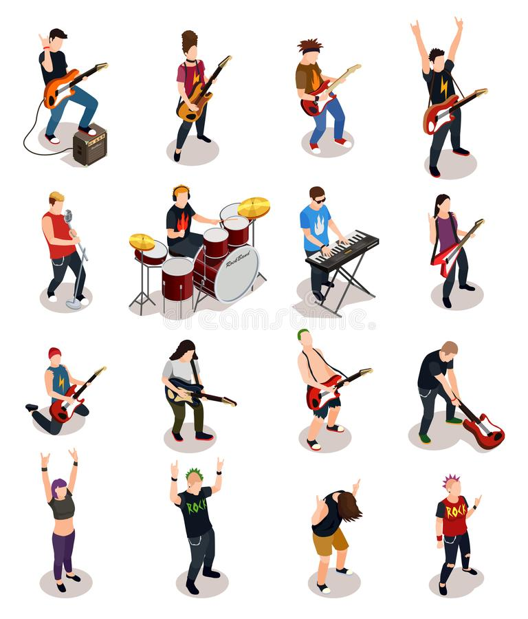 Rock Stars Isometric People vector illustration