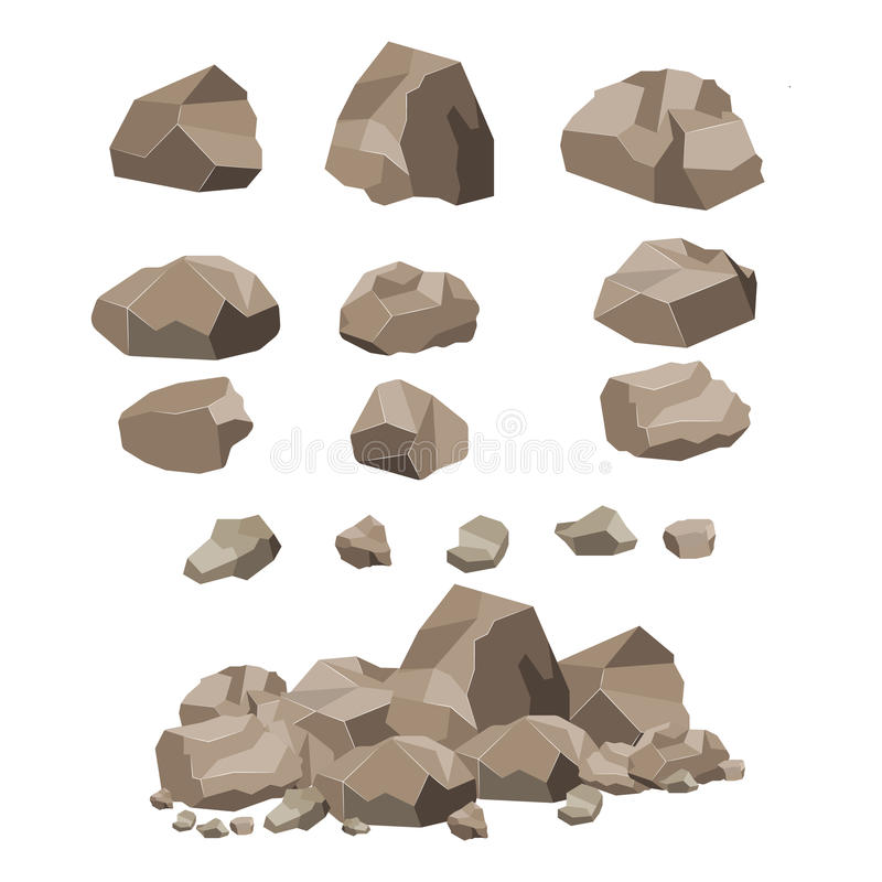 Rock stone big set cartoon. stock illustration