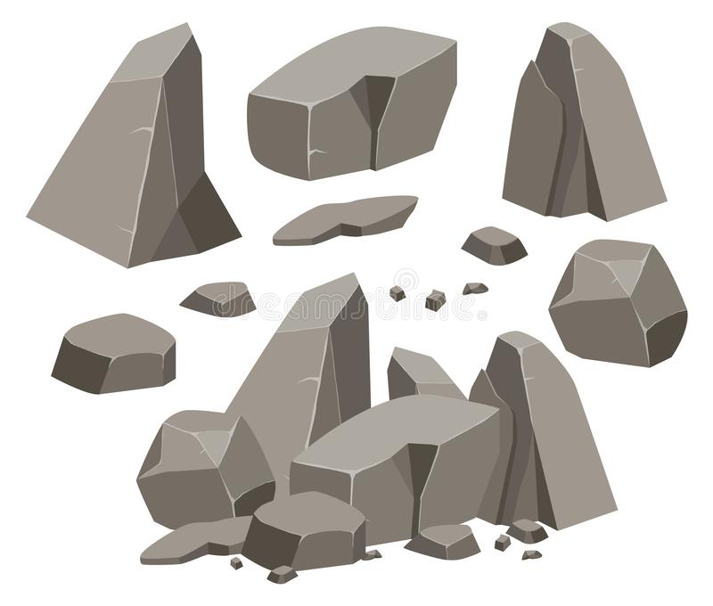 Rock stone big set cartoon. royalty free illustration