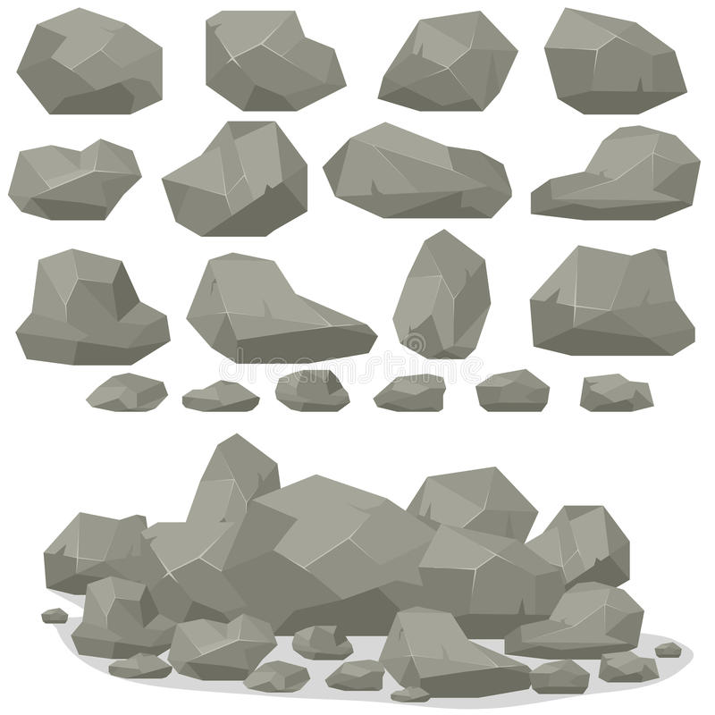 Rock stone cartoon in isometric 3d flat style. Set of different stock illustration