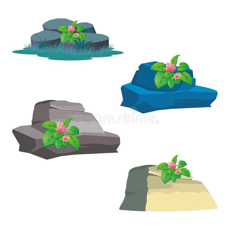 Rock - Stone with Grass and Flower royalty free illustration